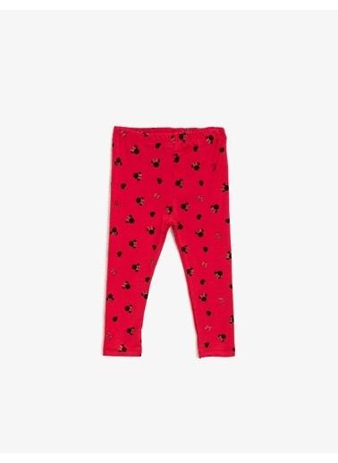 Koton Minnie Mouse Lisansli Baskili Normal Bel Tayt Kırmızı